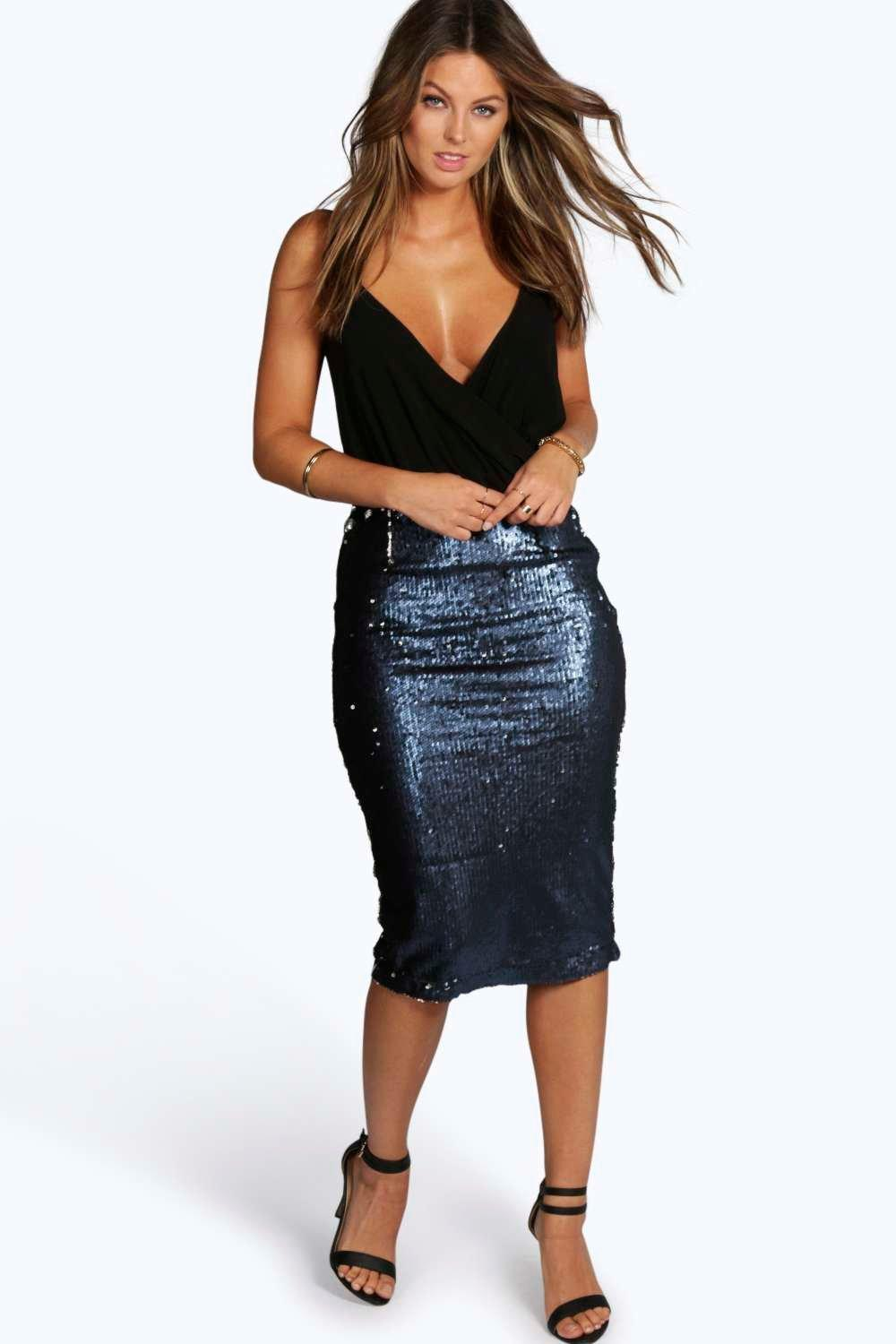 Kylie Heavily Embellished Sequin Midi Skirt