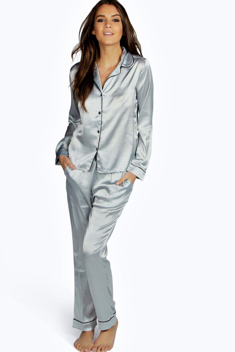 Scarlett Contrast Piping Button Down Satin Set