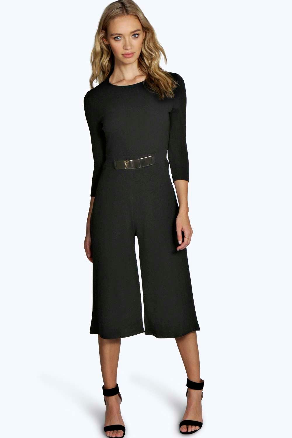 Ella 3/4 Sleeve Plate Belt Tailored Culotte Jumpsuit at boohoo.com