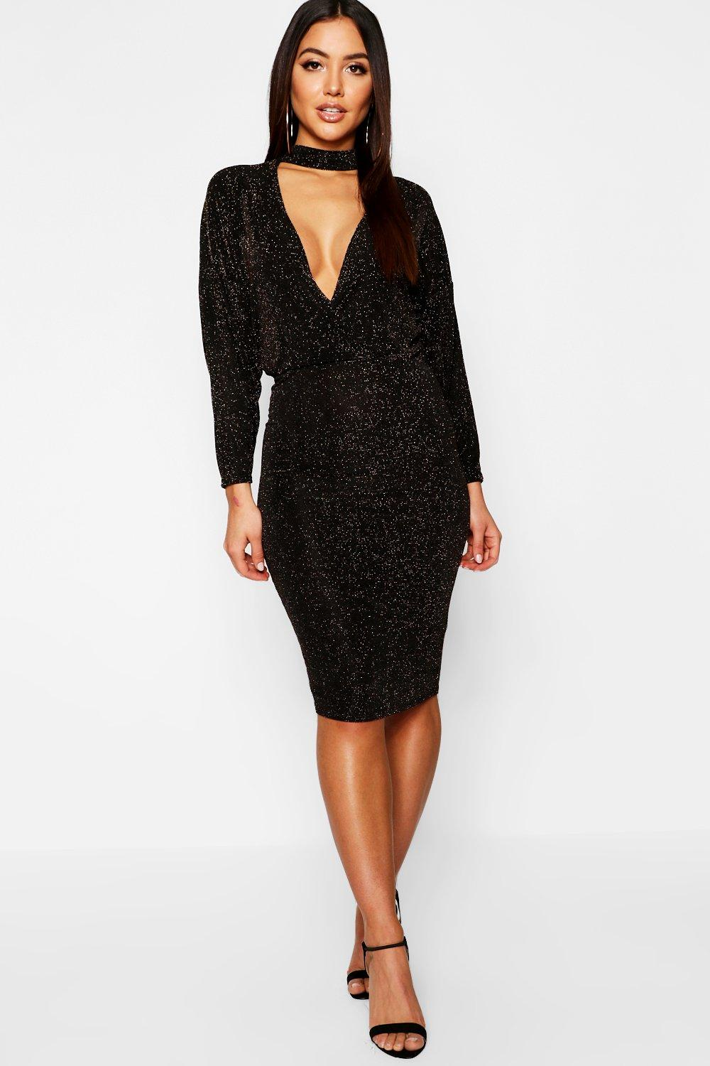 Faye metallic high neck plunge bodycon dress at for Boohoo dresses for weddings