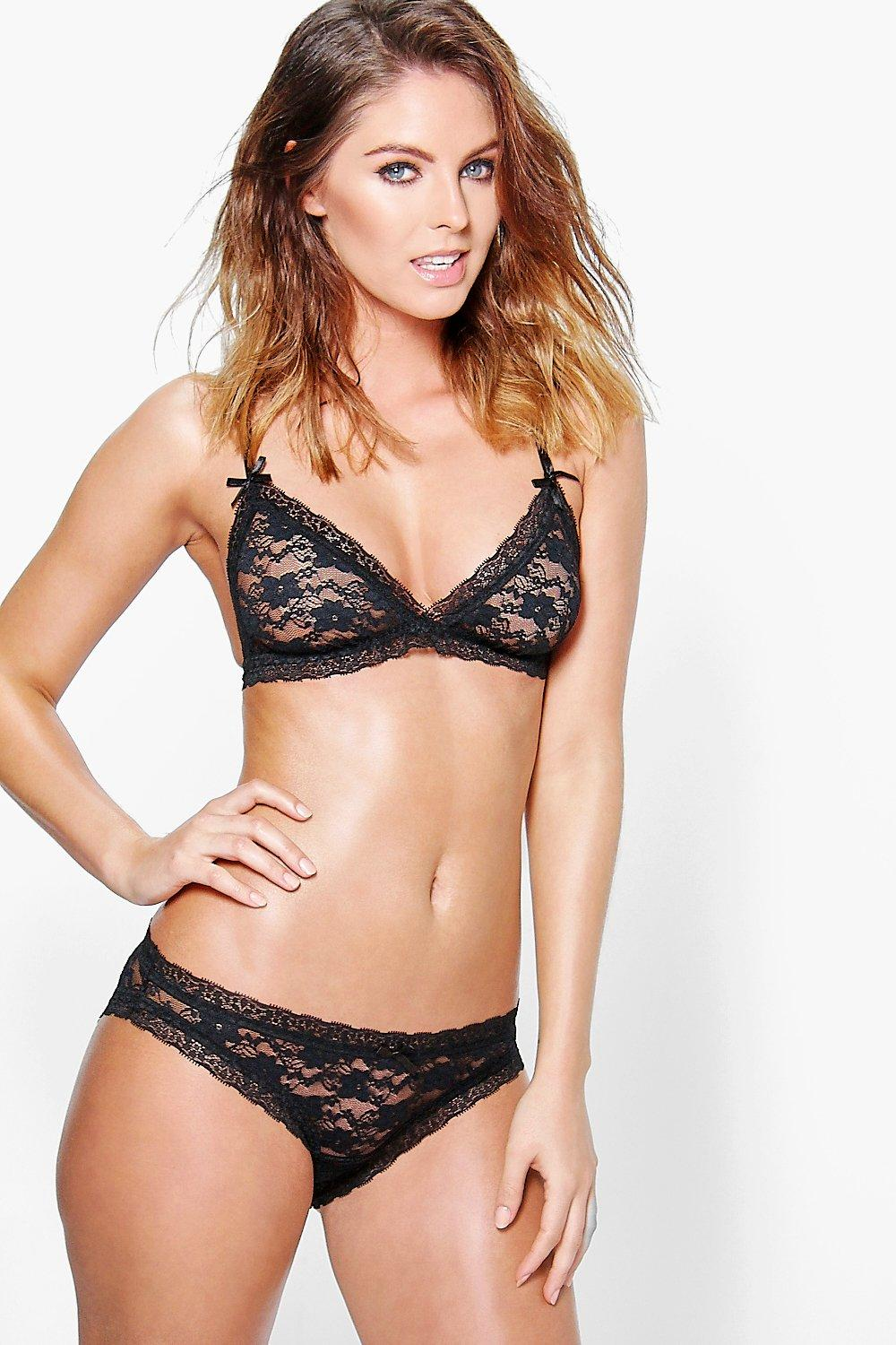 Jasmine Black Lace Bow Brief