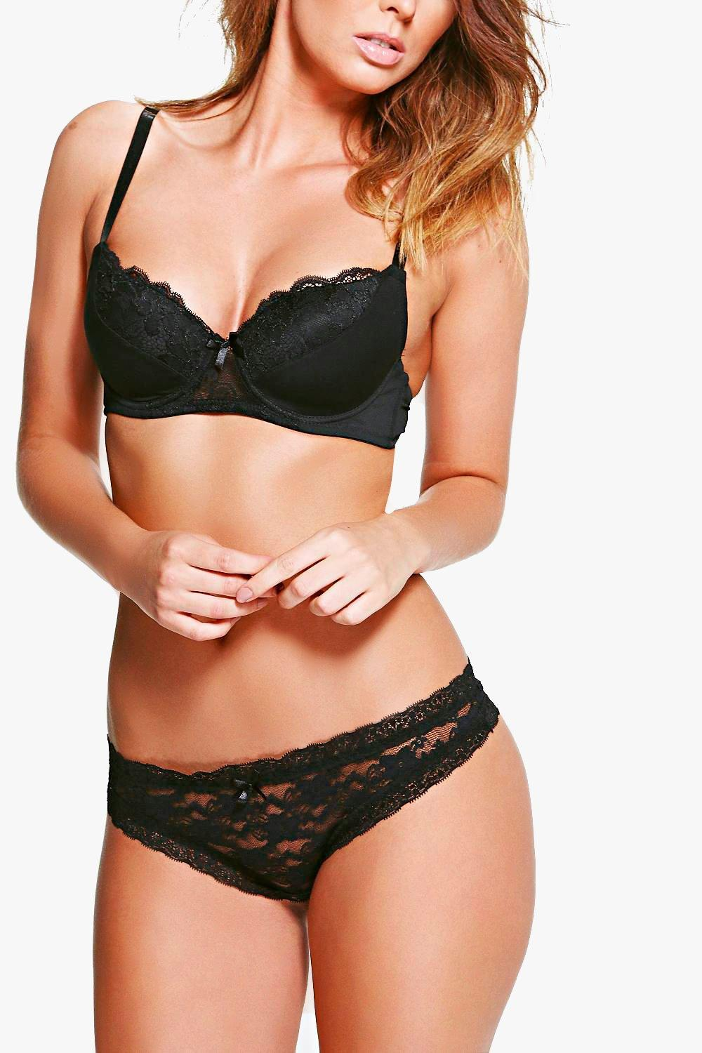 Hannah Black Lace Bow Thong