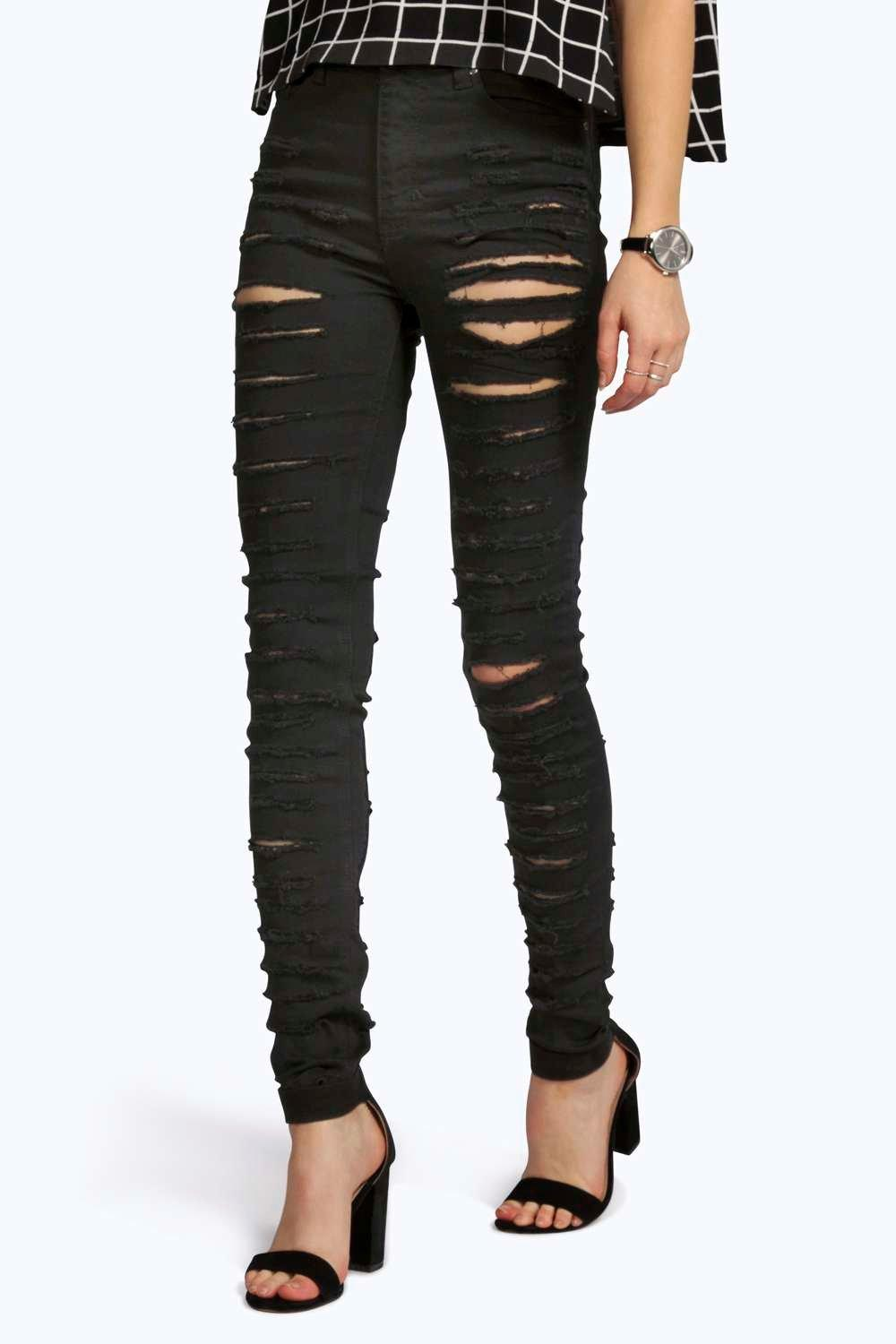 Emma Black 5 Pkt High Rise Ripped Jeans