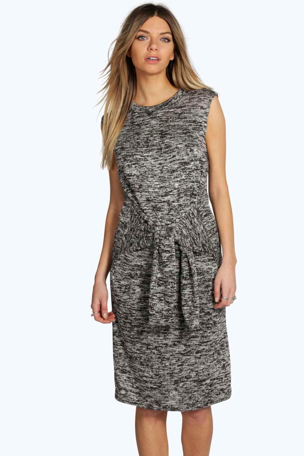 Lucy Tie Waist Knitted Marl Dress