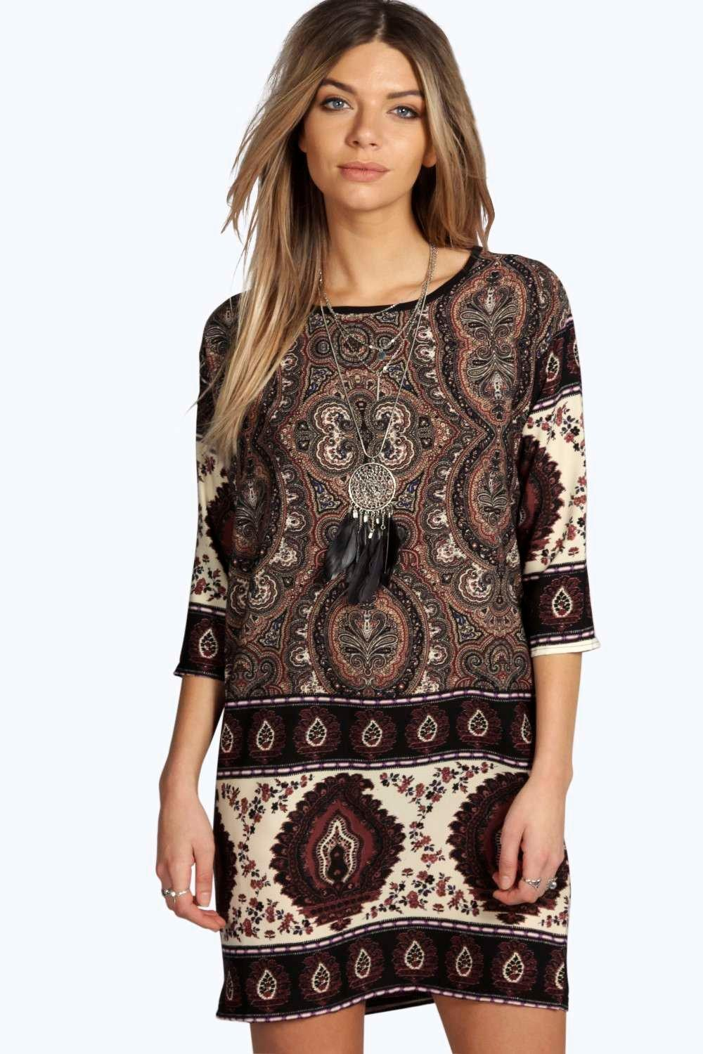 Nina Paisley Print 3/4 Sleeve Shift Dress at boohoo.com