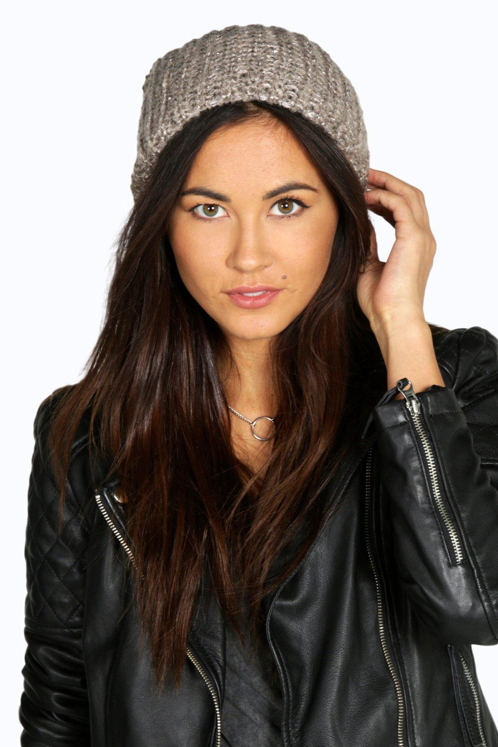 Ava Sequinned Slouch Beanie Hat