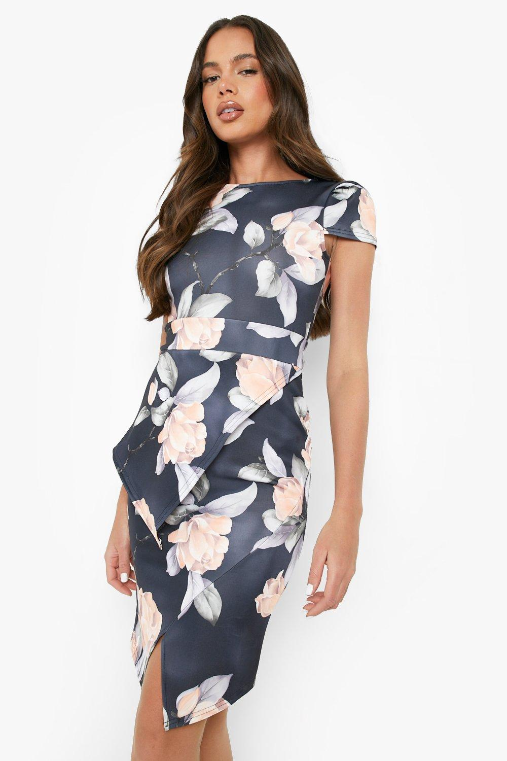 Misty asymmetric peplum floral print midi dress at for Boohoo dresses for weddings