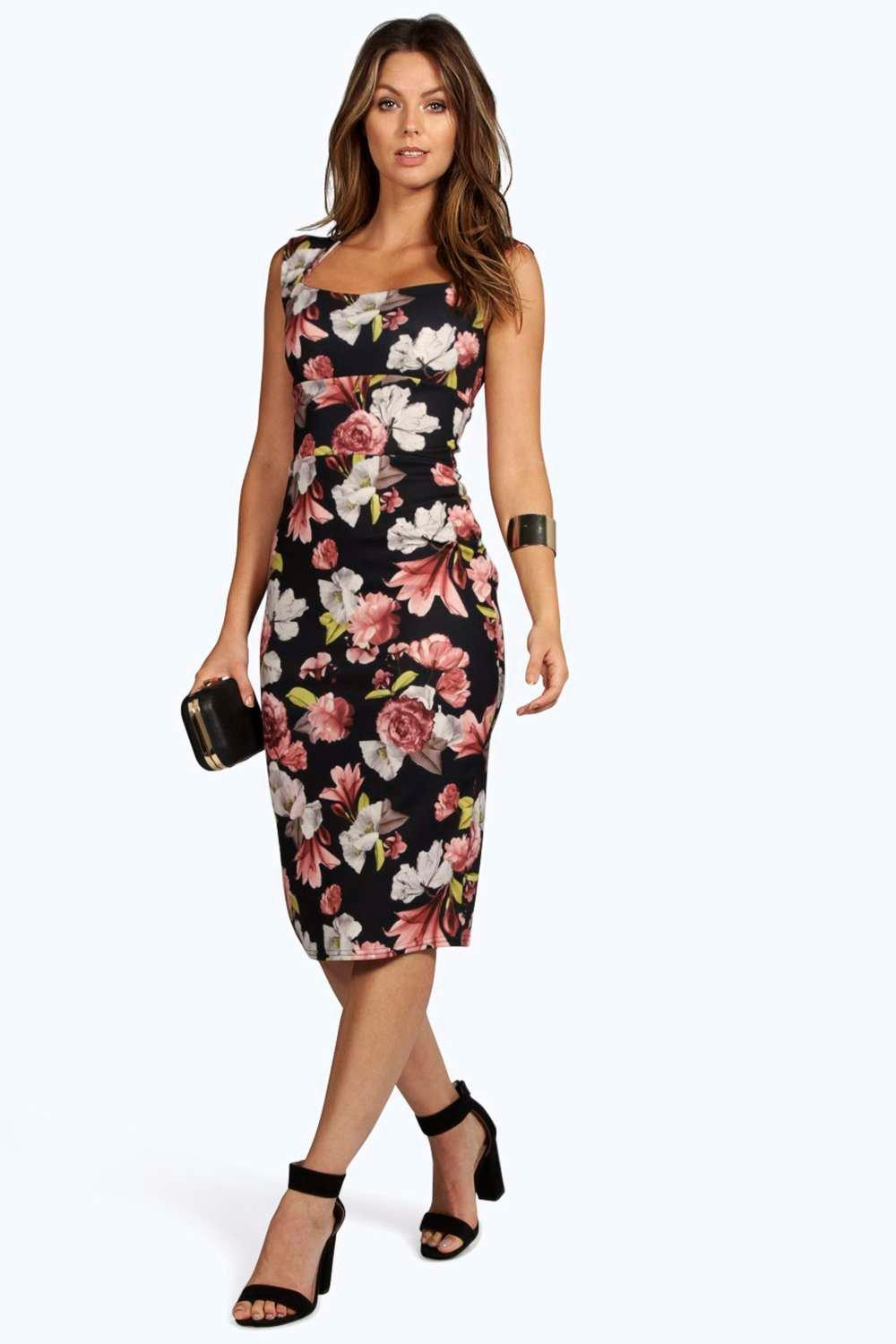 Harper floral print sweetheart midi bodycon dress at for Boohoo dresses for weddings