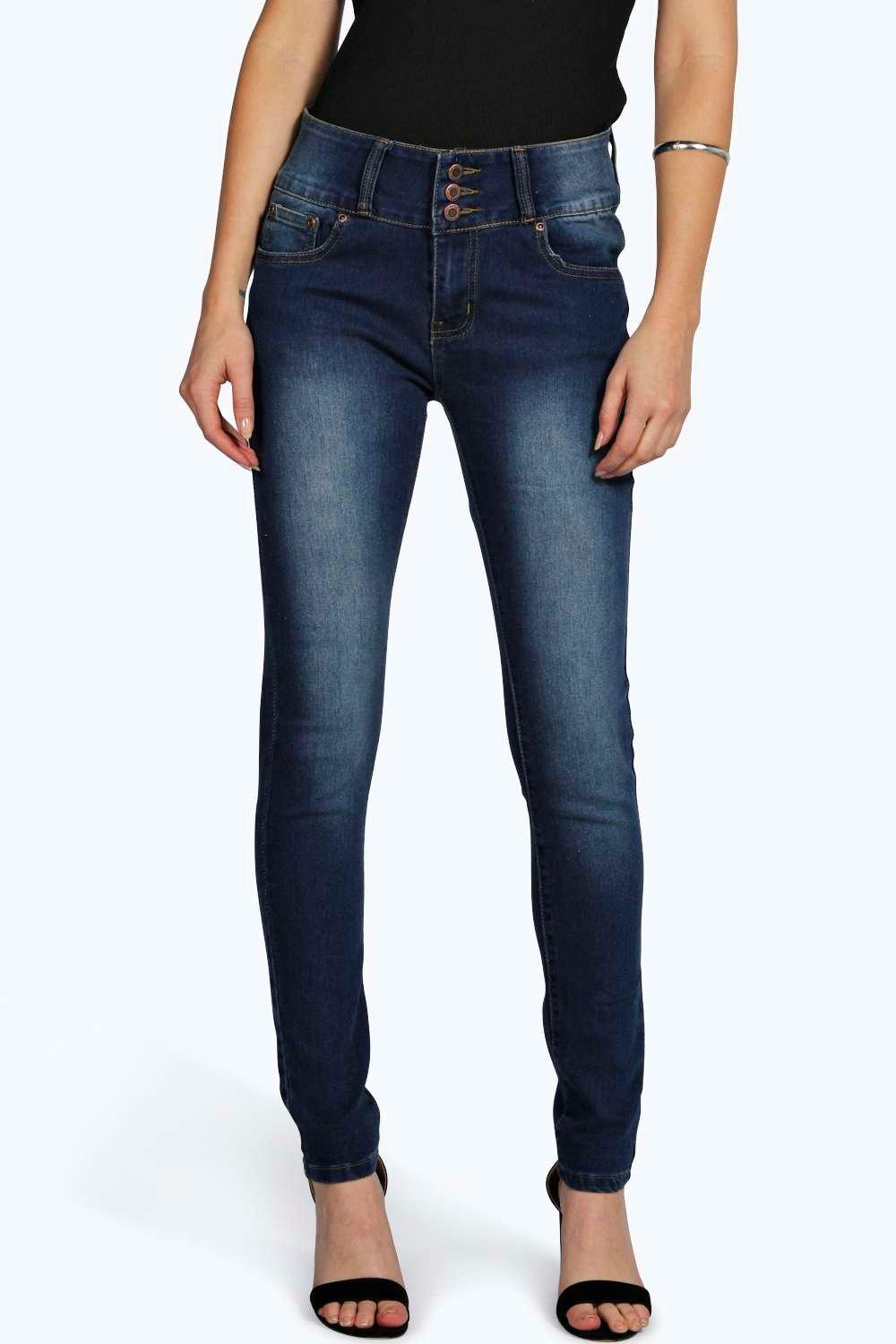 Jess Mid Rise 3 Button Skinny Jeans