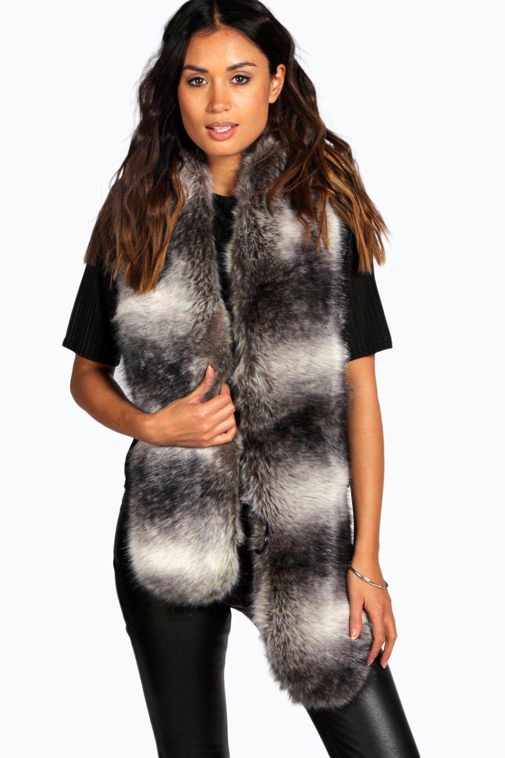 Boutique Ella Striped Faux Fur Scarf