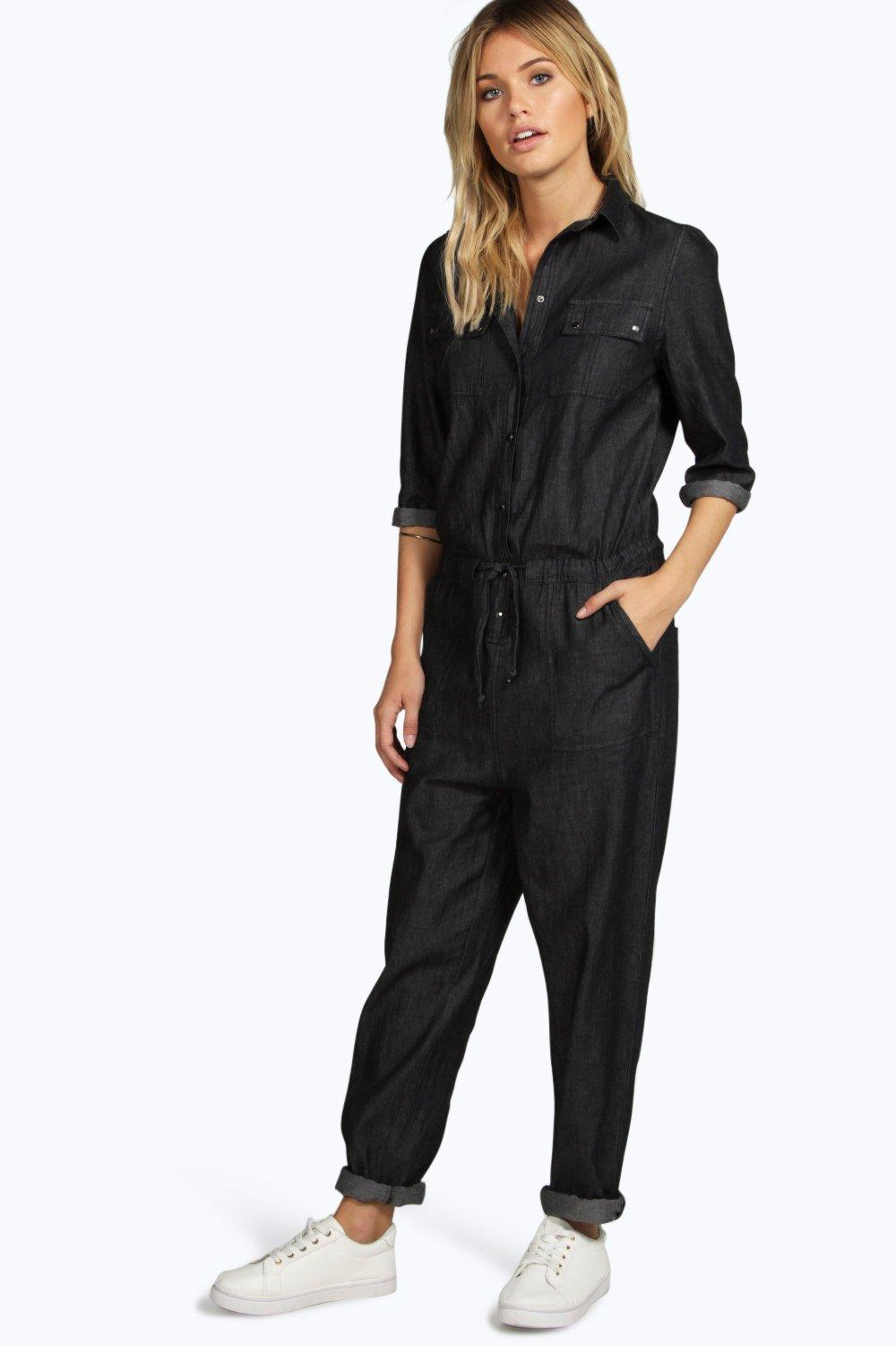 Betty Black Utility Denim Boilersuit