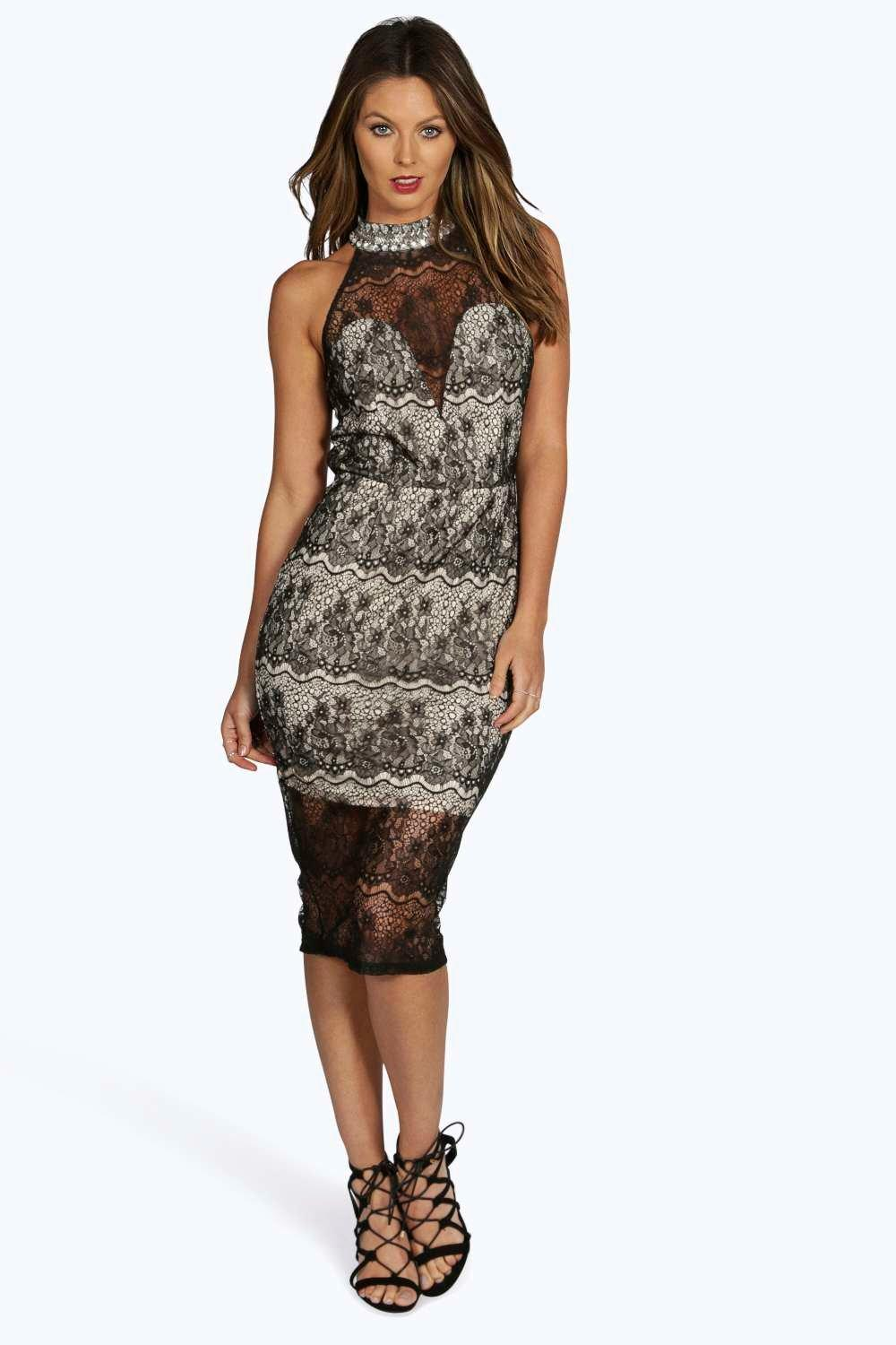 Boutique Nina Embellished Collar Bodycon Dress
