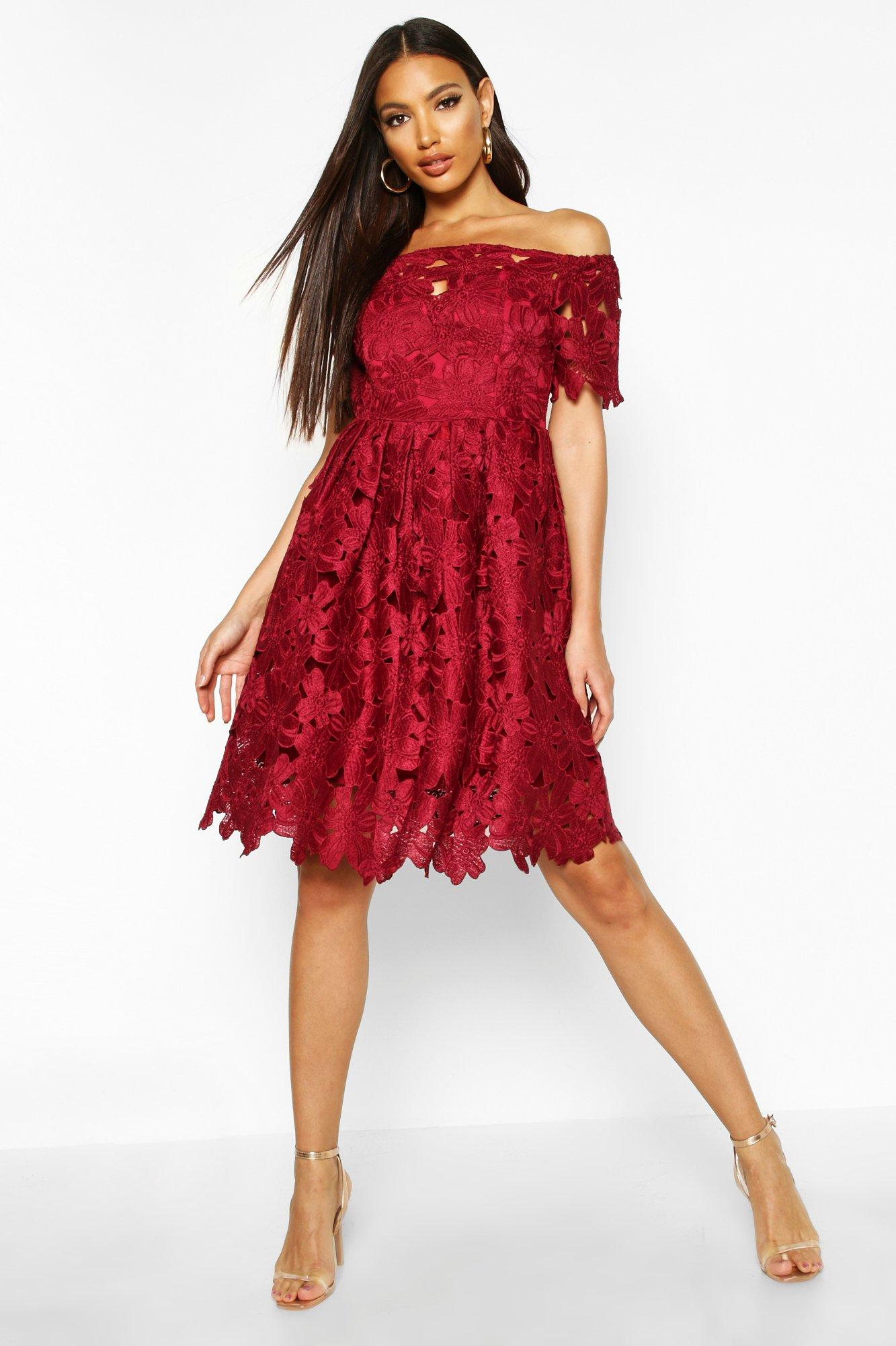 Boutique lisa off shoulder lace skater dress at for Boohoo dresses for weddings