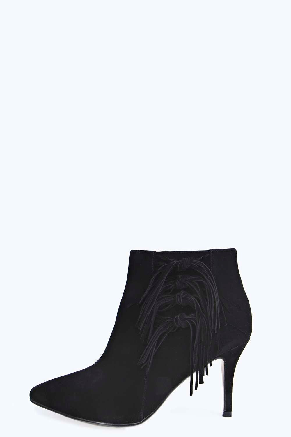 Anna Fringed Suedette Pointed Ankle Boot