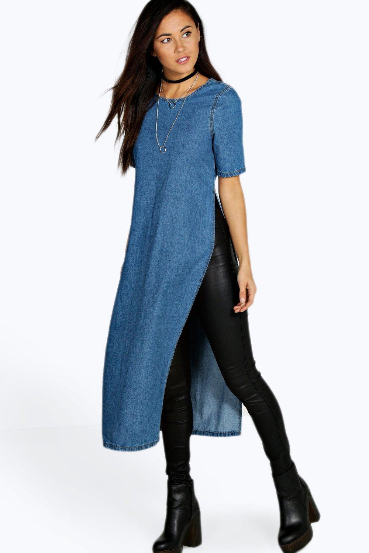 Helena Side Split Denim Tunic Dress at boohoo.com