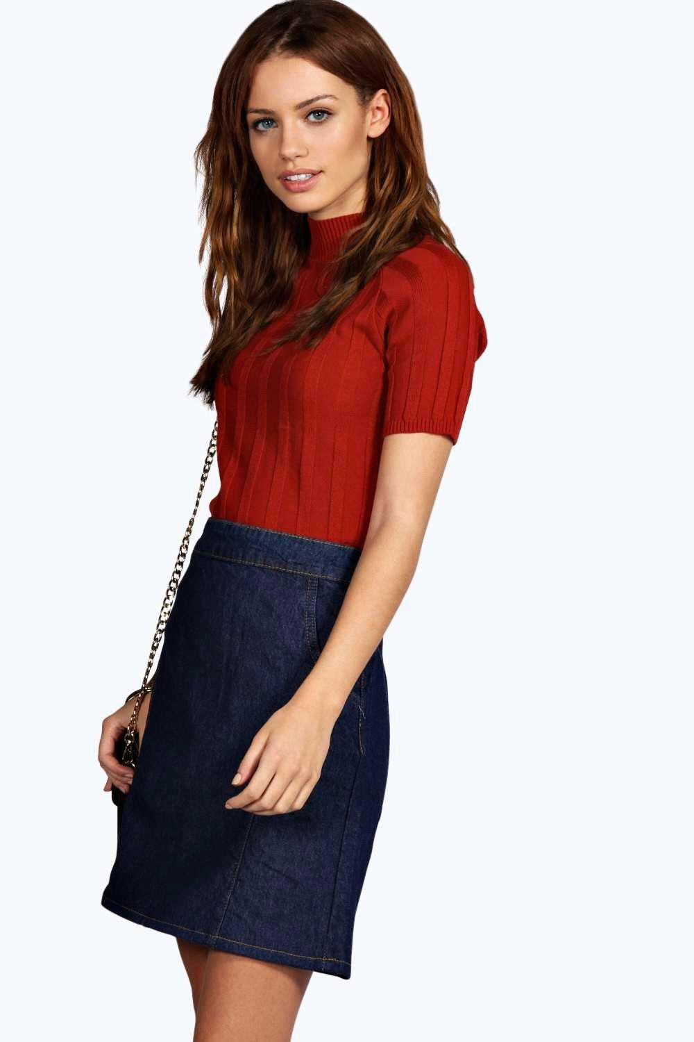 Hayley A Line Pocket Denim Skirt