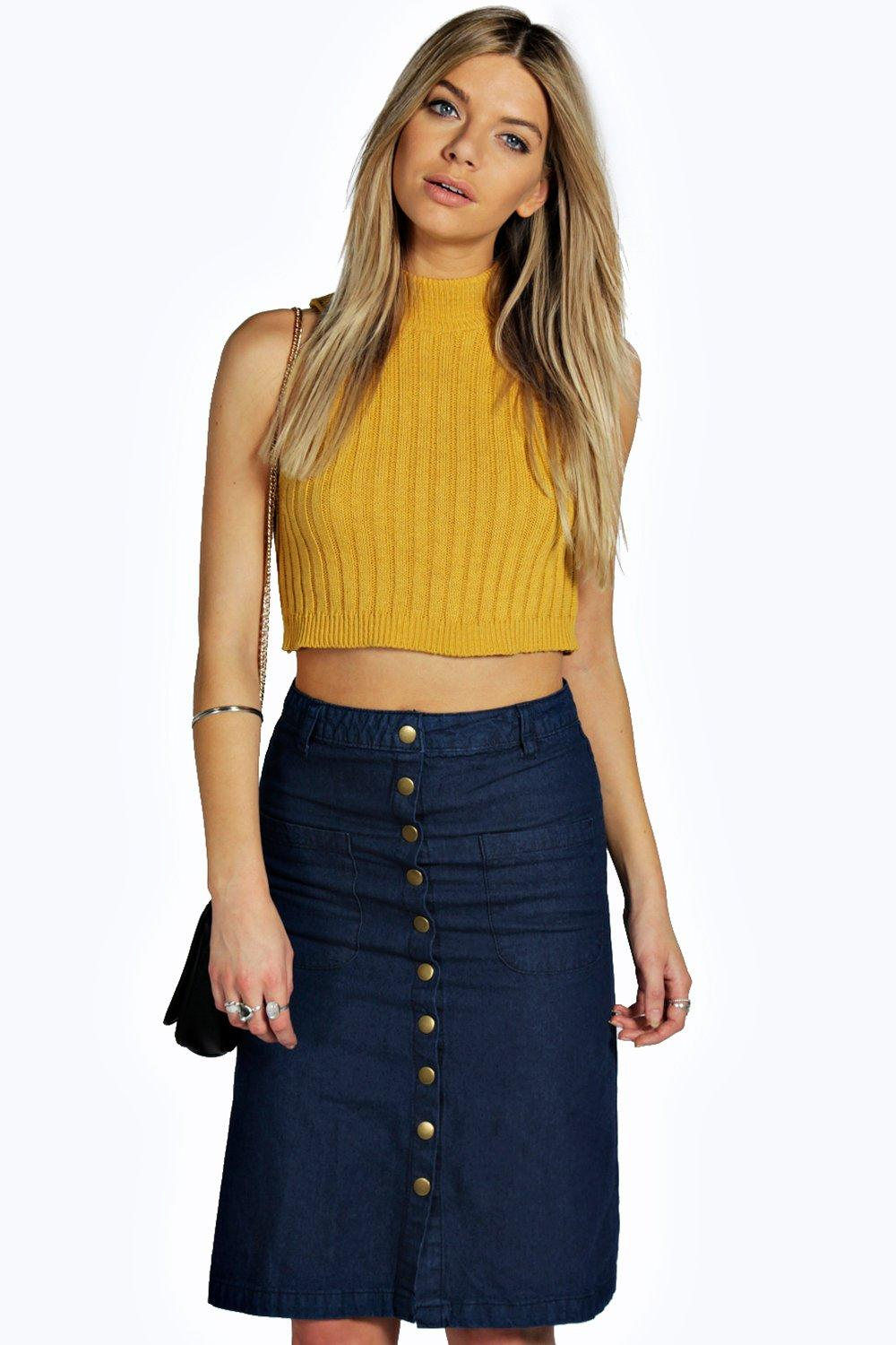 Georgia Patch Pocket Denim Midi Skirt