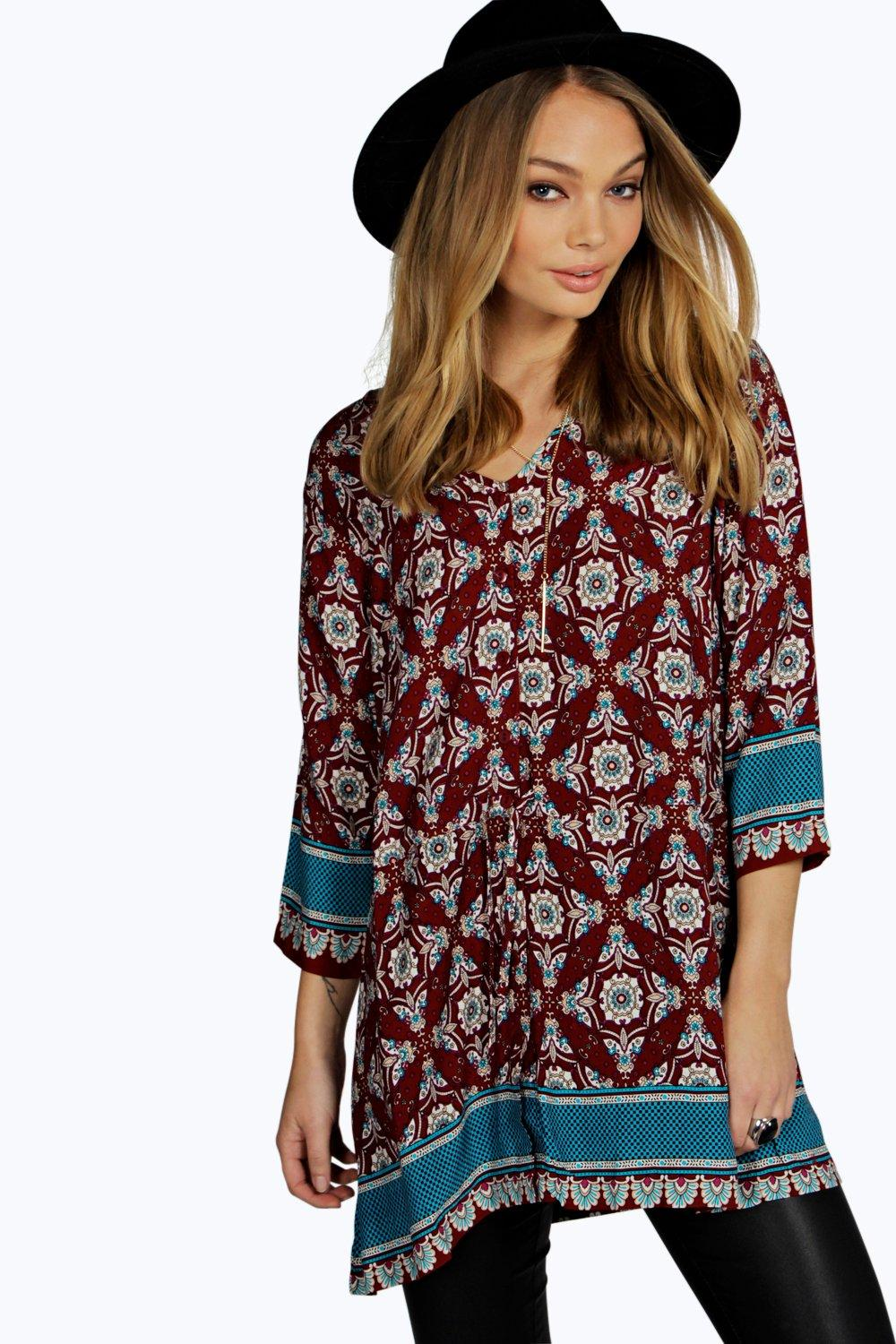 Sally Border Print Paisley Button Through Blouse