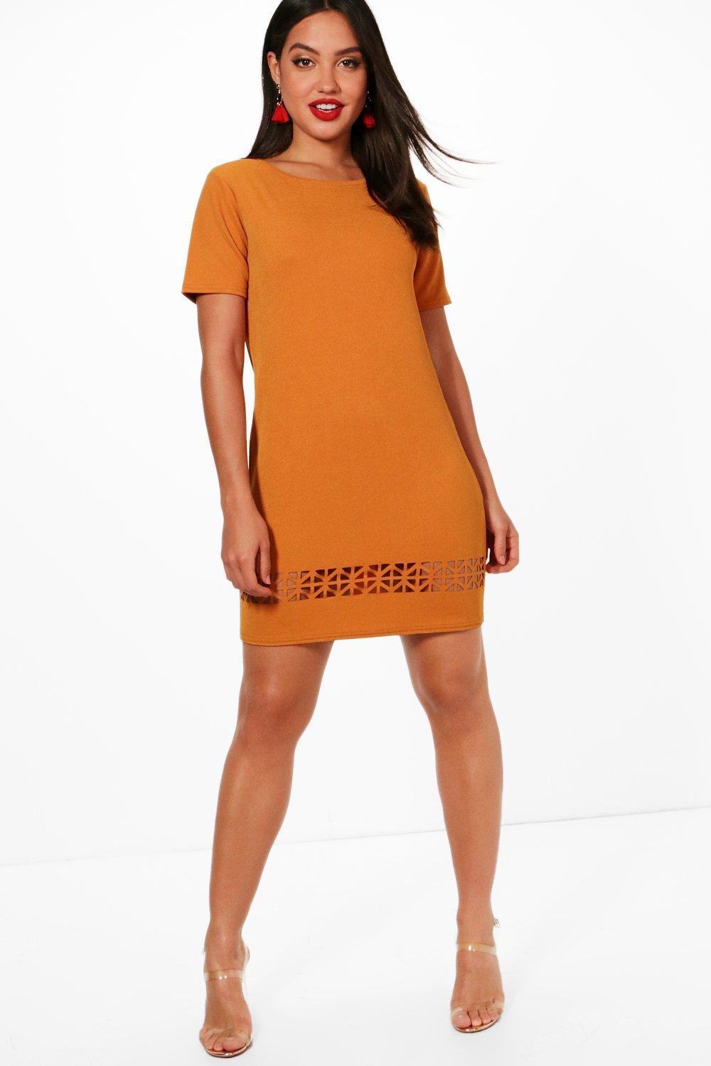 Dalia laser cut shift dress at for Boohoo dresses for weddings
