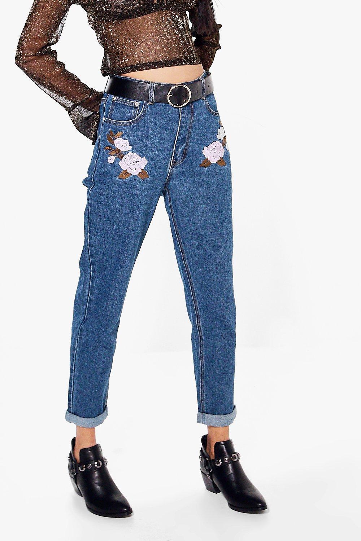 Sarah embroidery pocket mom jeans at boohoo