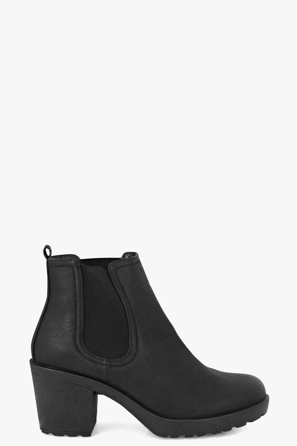 matilda block heel chelsea boot at boohoo