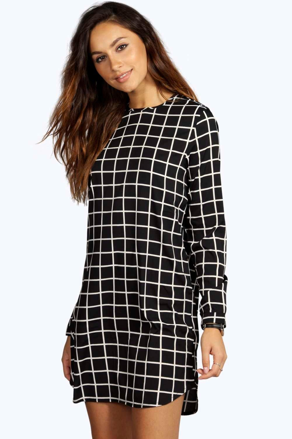 Lara Monochrome Check Curved Hem Shift Dress