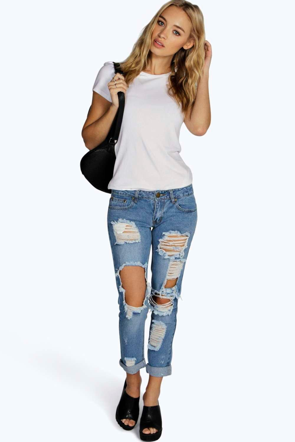 Lea Low Rise Ripped & Distressed Boyfriend Jeans
