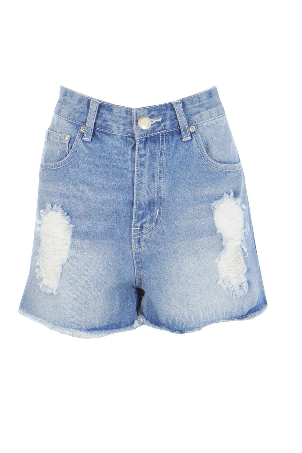 Olivia High Waisted Distressed Denim Mom Shorts