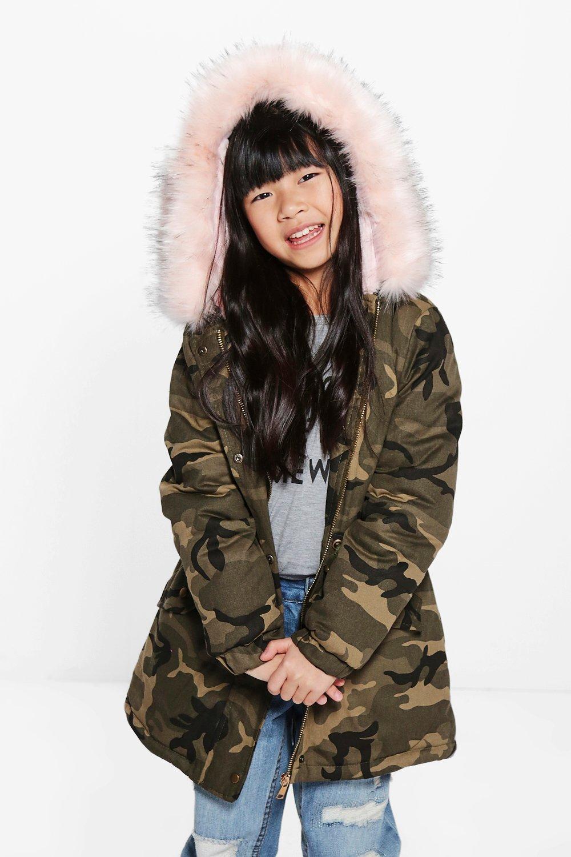 Girls Camo Faux Fur Hooded Parka At Boohoo.com