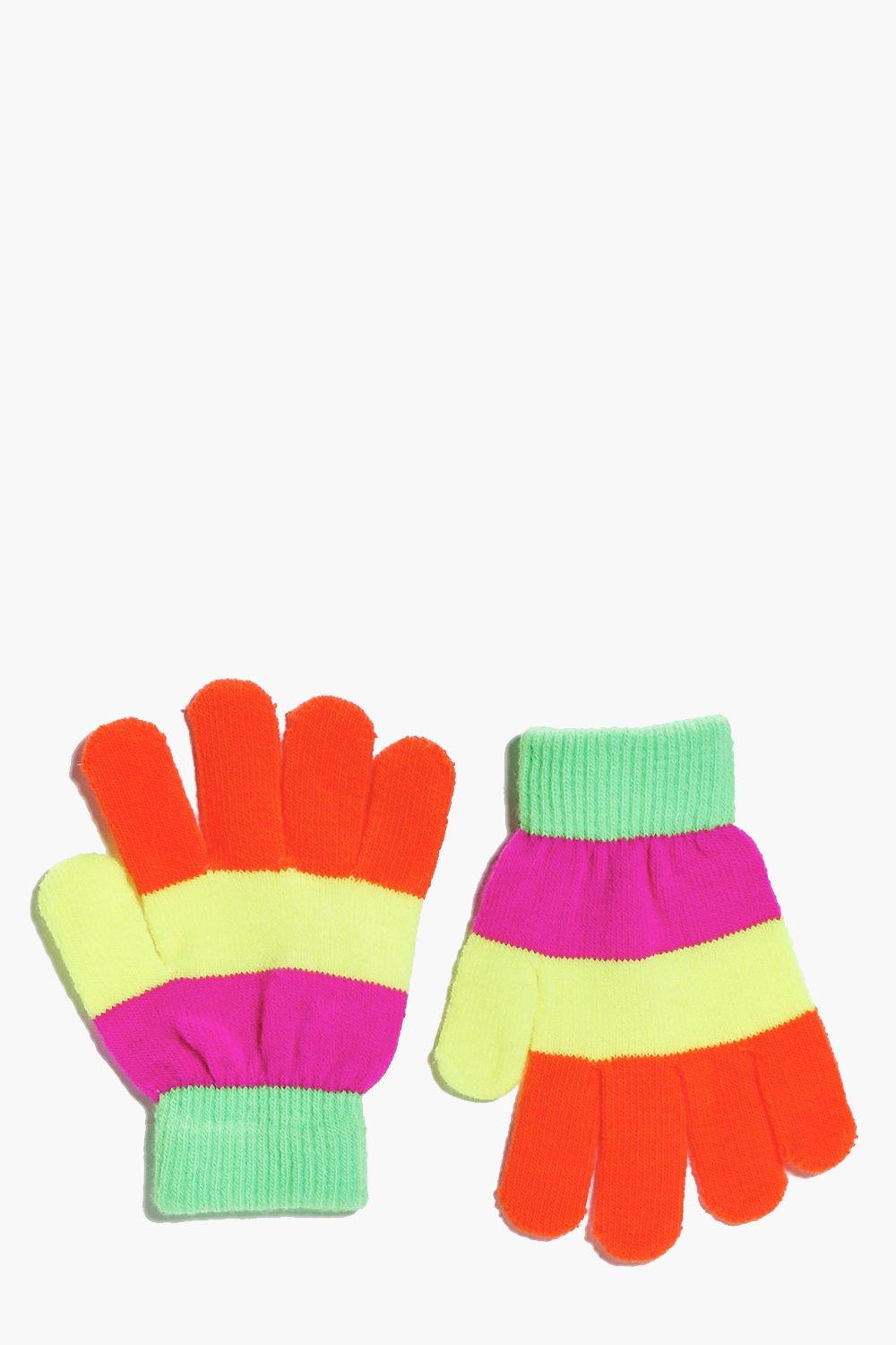 Girls Striped Neon Magic Gloves