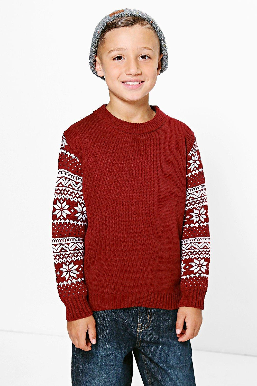 Boys Contrast Sleeve Jumper