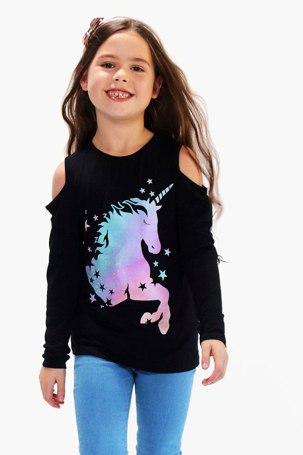 Girls Cold Shoulder Unicorn Multicolour Print Tee