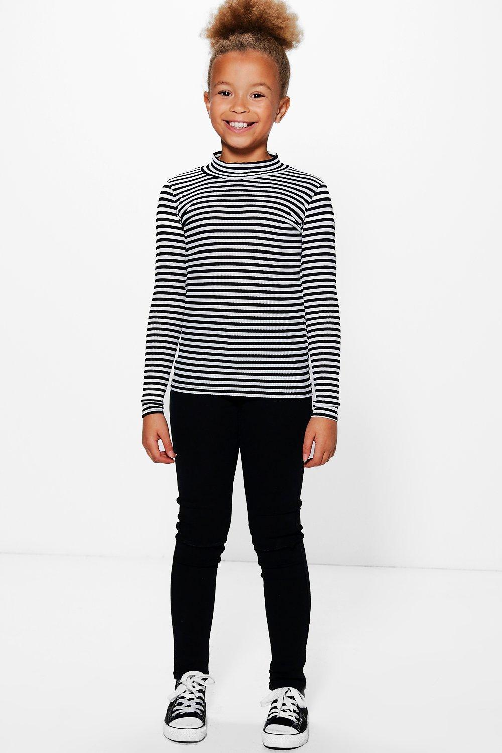 Girls High Neck Stripe Top