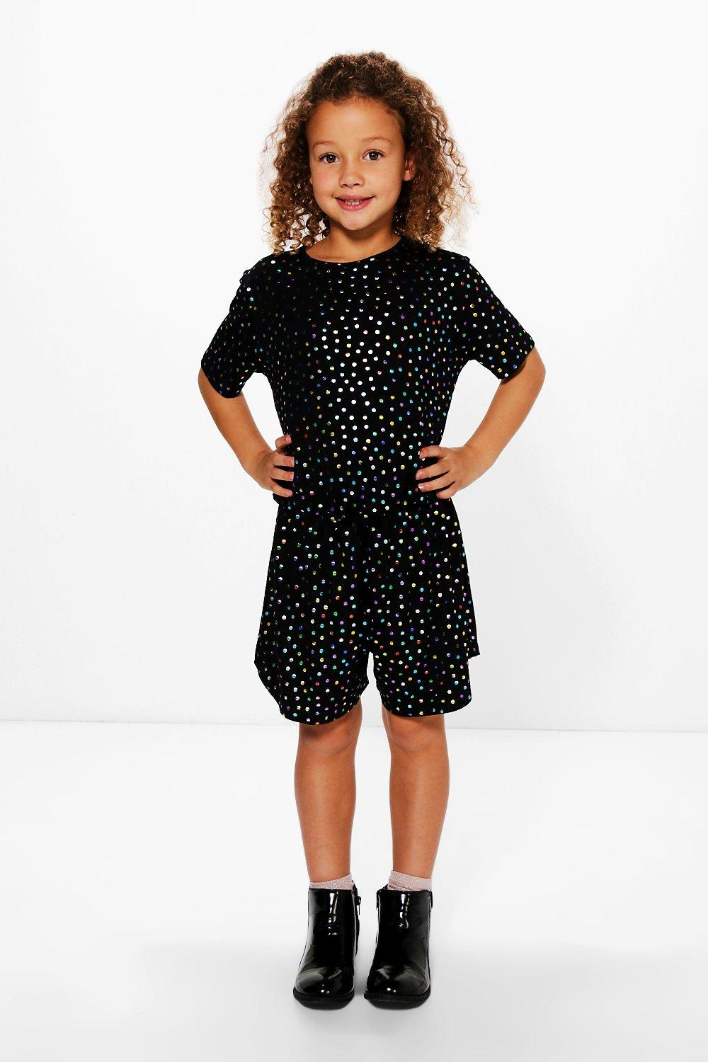 Girls Metallic Spot Playsuit