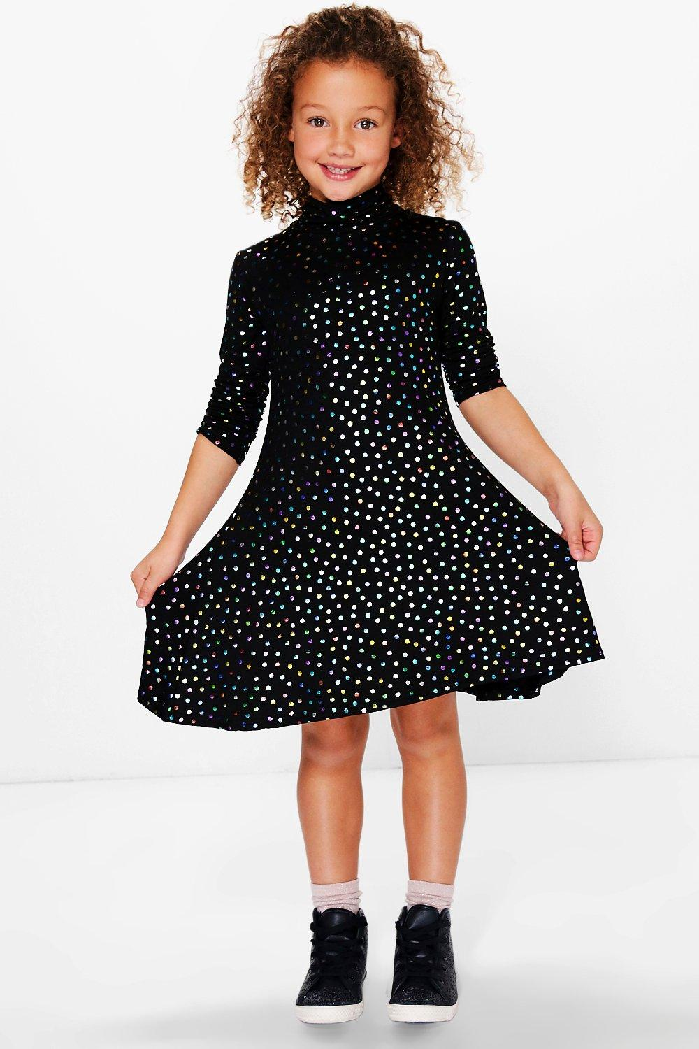 Girls Metallic Spot Polo Neck Swing Dress