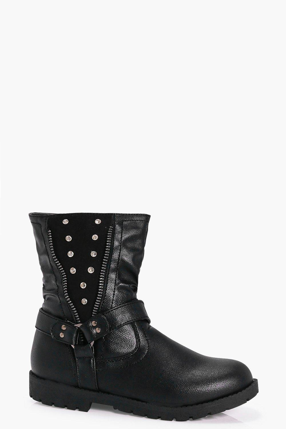 Girls Diamante Trim Biker Boots