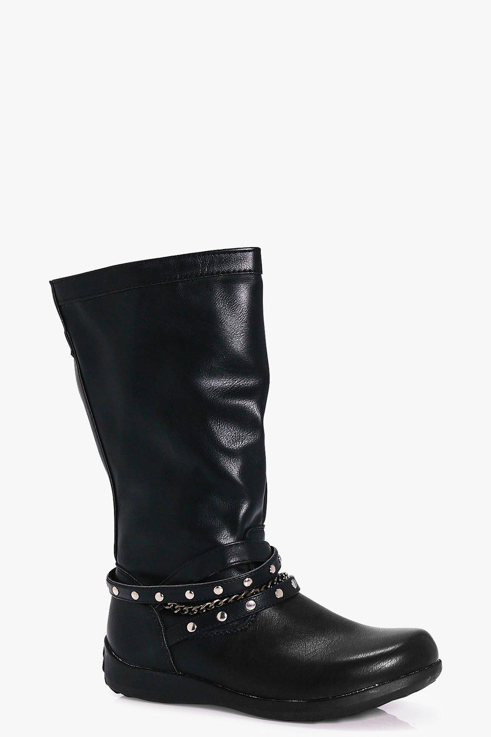 Girls Chain And Stud Trim Knee Boots