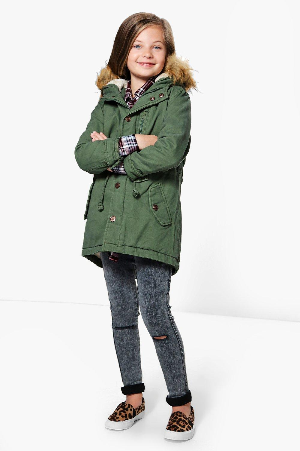 Girls Canvas Faux Fur Hooded Parka