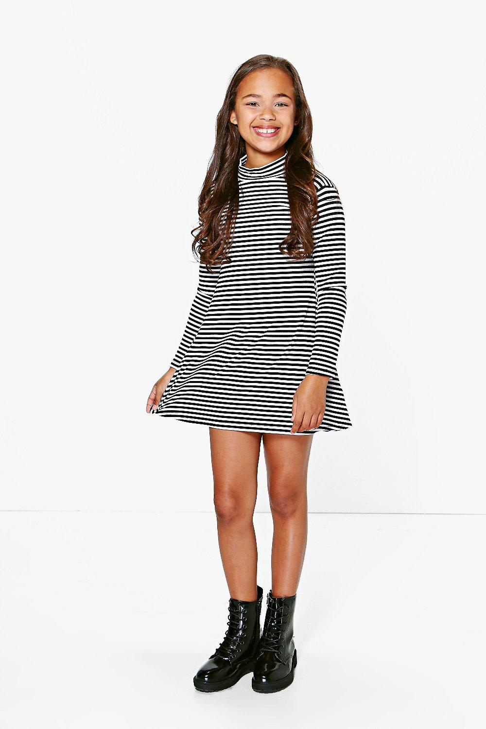 Girls High Neck Striped Jersey Dress