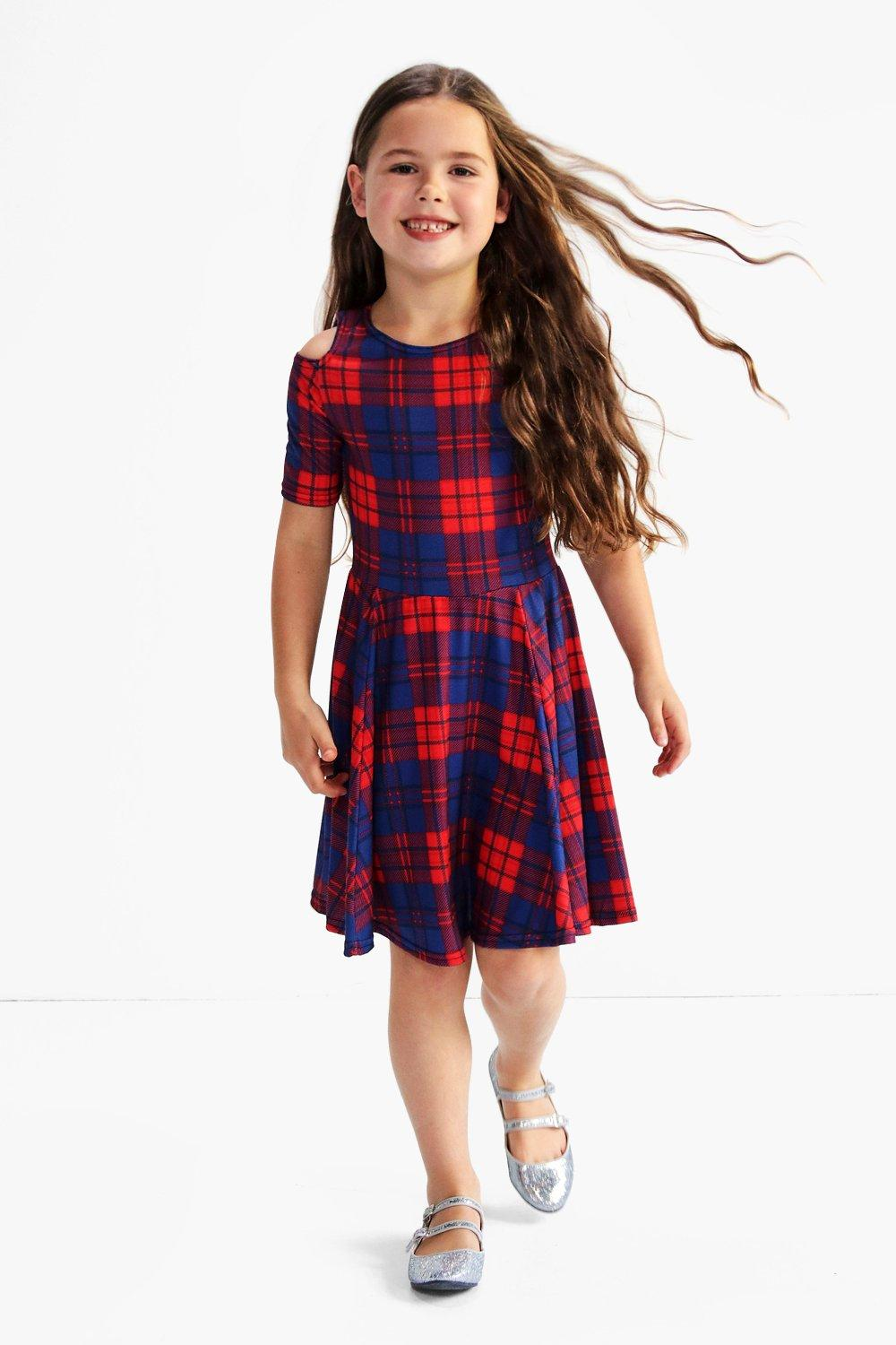 Girls Checked Cold Shoulder Skater Dress