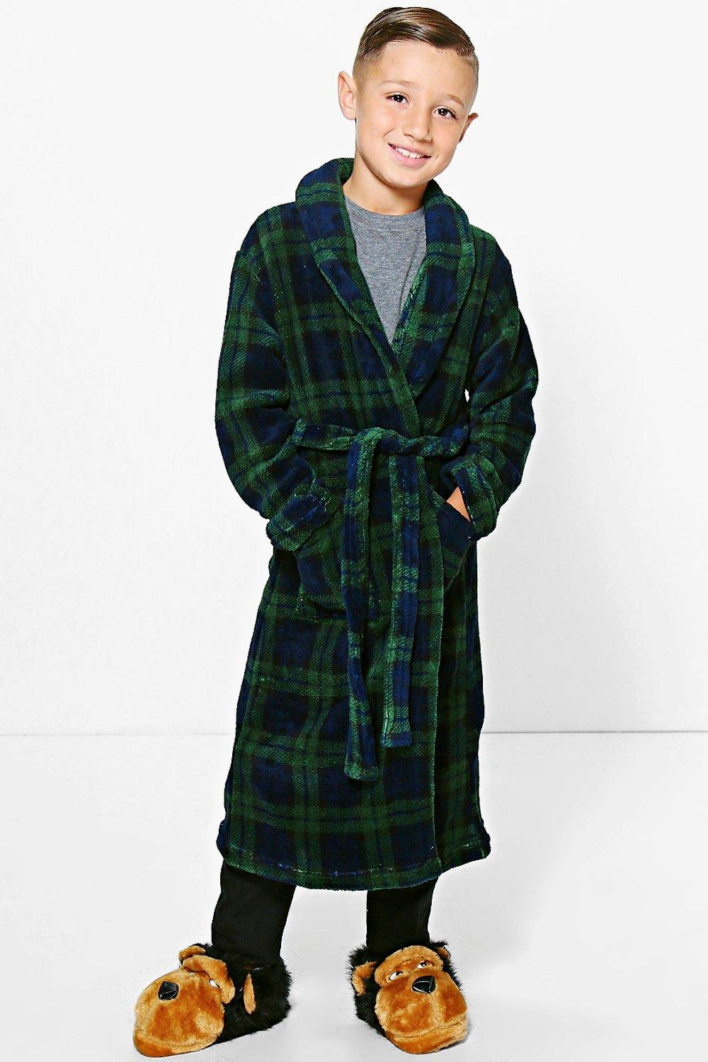 Boys Navy Check Robe
