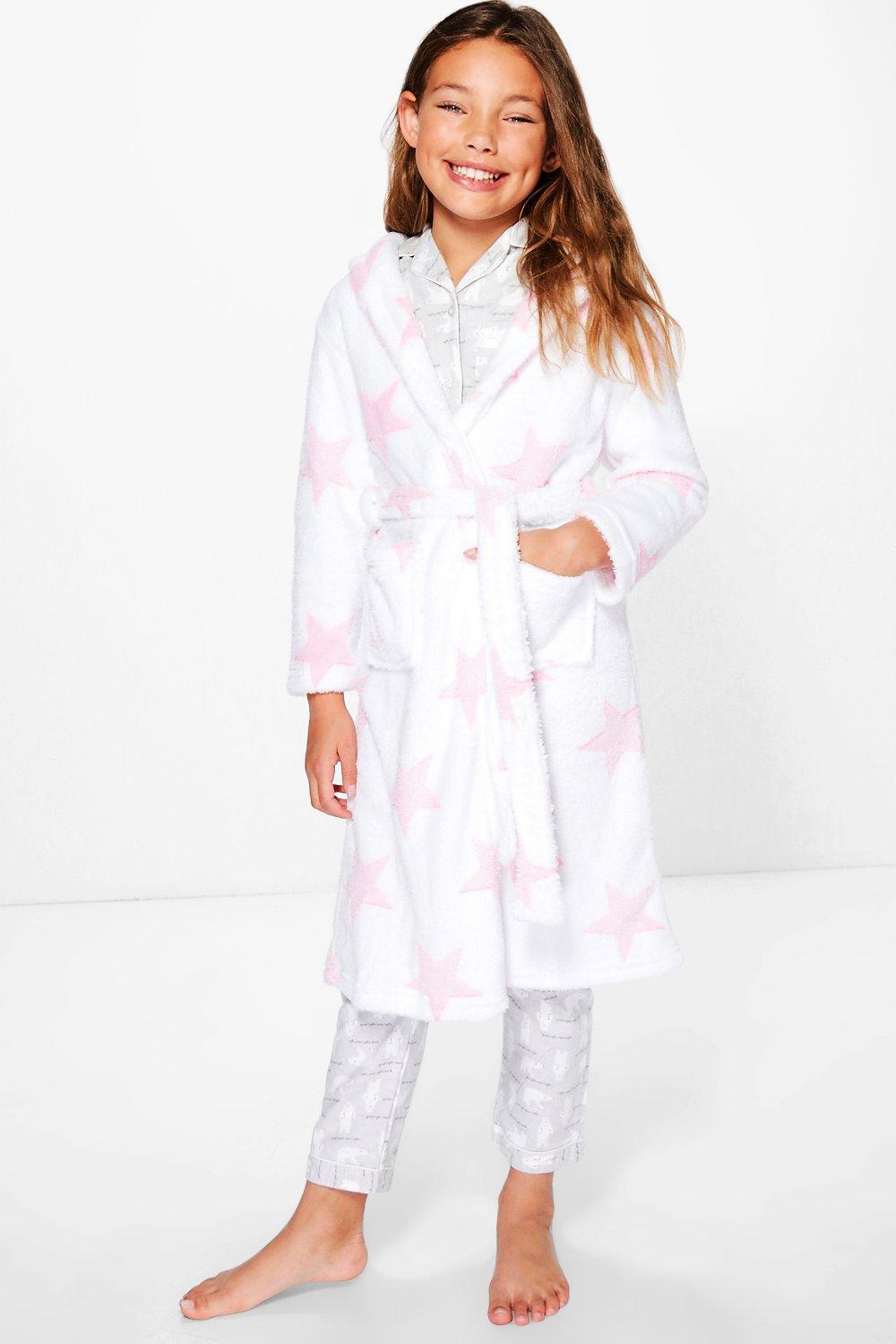 Girls Pink Star Print White Robe