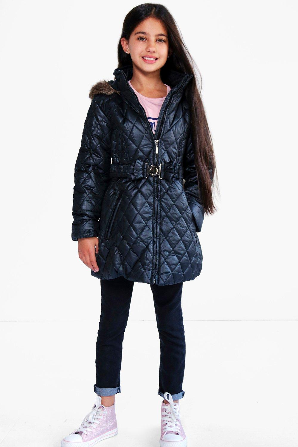 Girls Diamond Quilted Faux Fur Hooded Coat