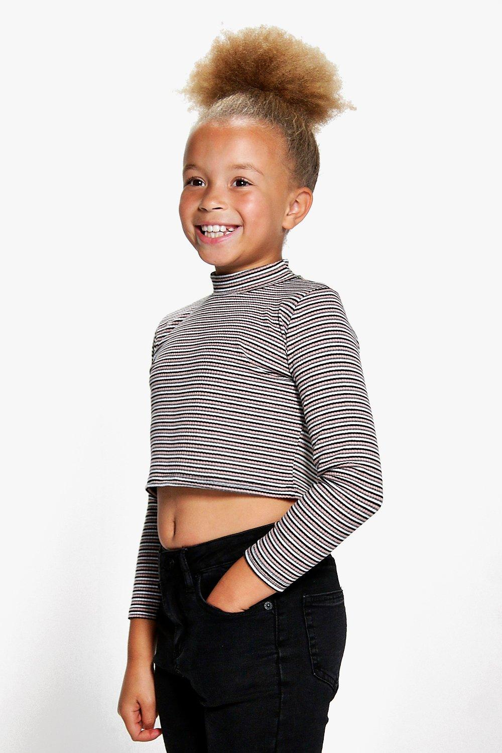 Girls Stripe Ribbed Long Sleeve Top