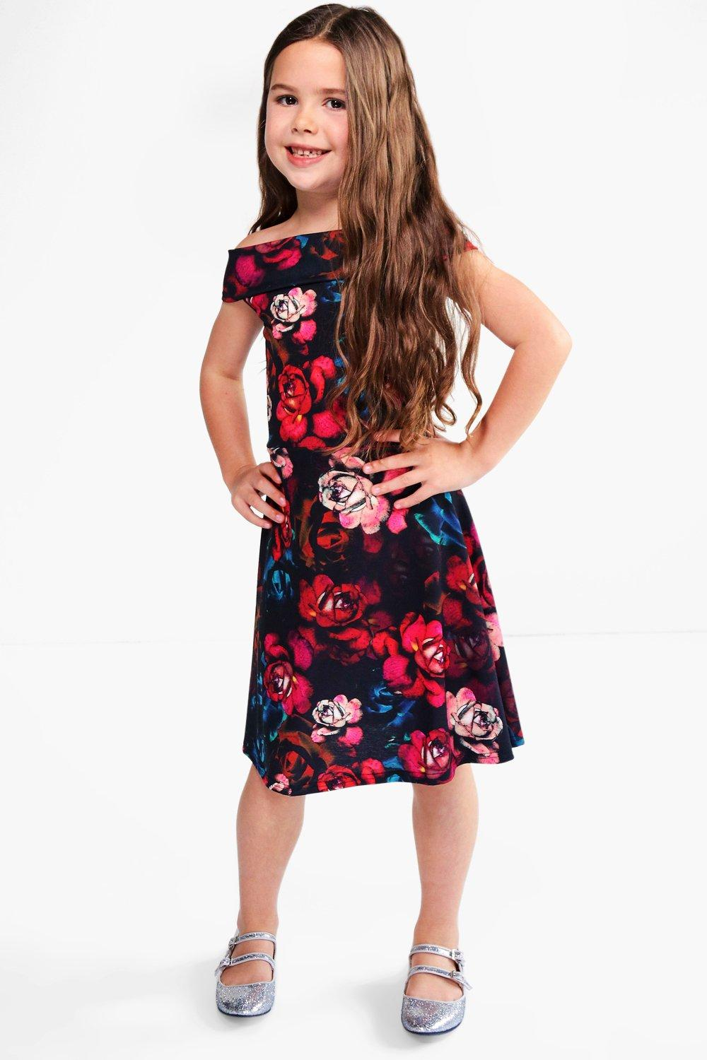Girls Floral Print Bardot Dress
