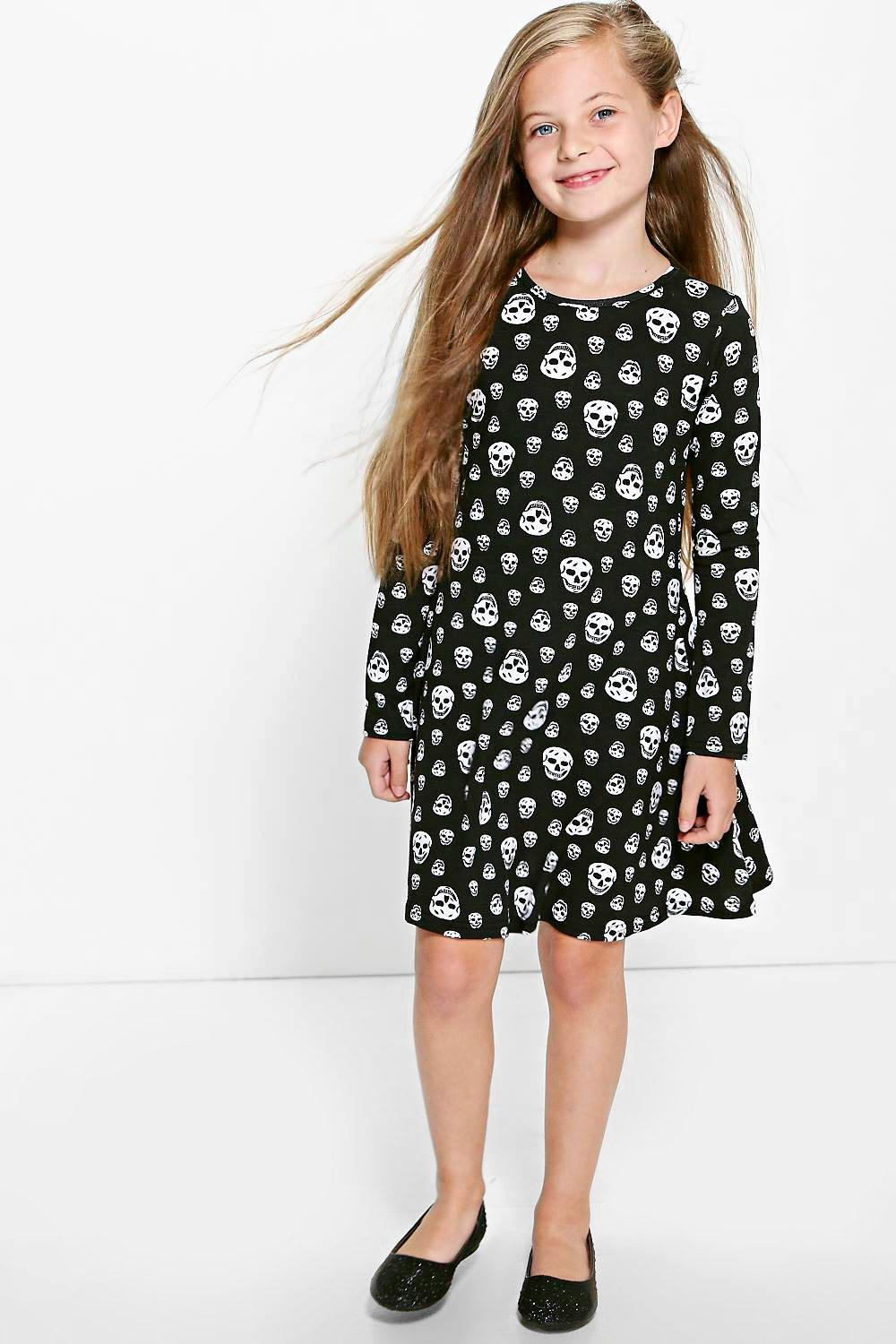 Girls Skull Print Swing Dress