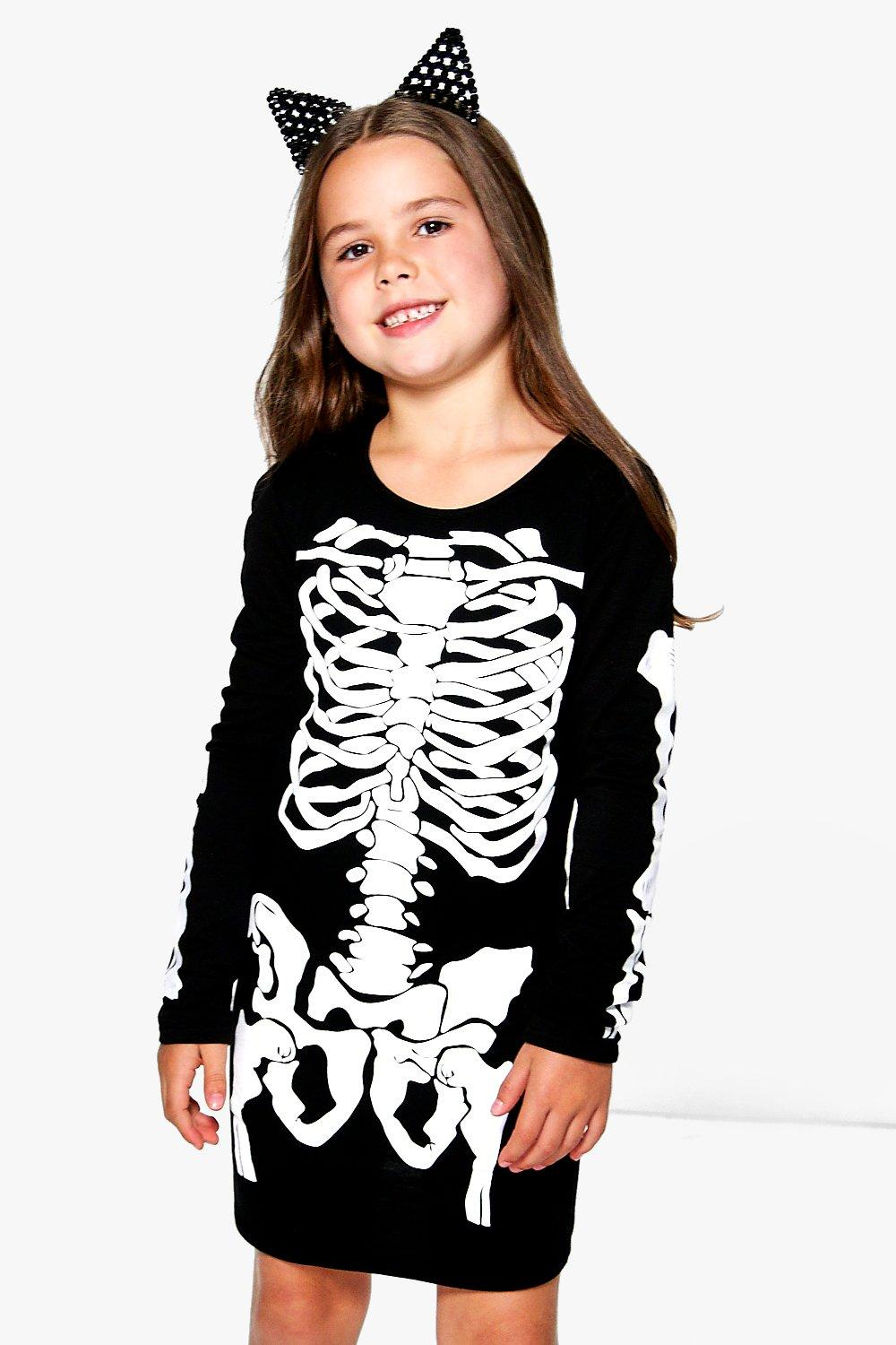 Girls Skeleton Print Dress