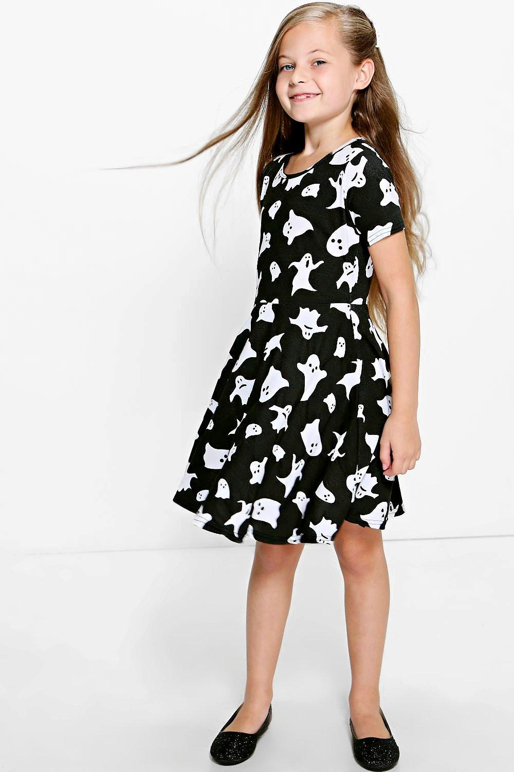 Girls Ghost Print Skater Dress