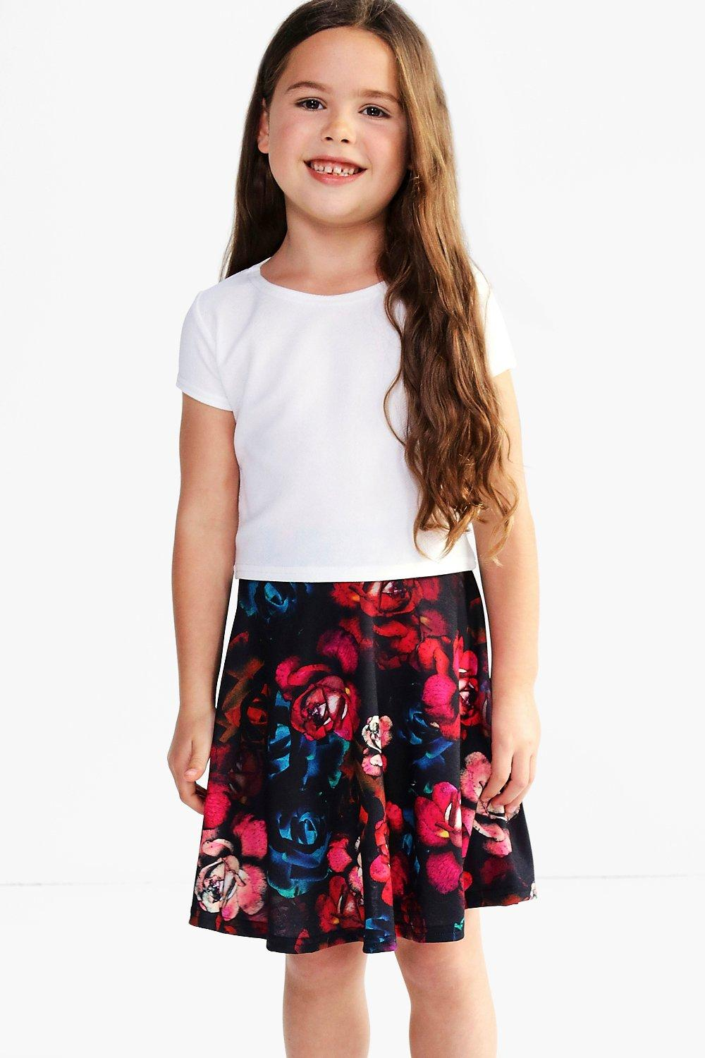 Girls Floral Print Skater Skirt