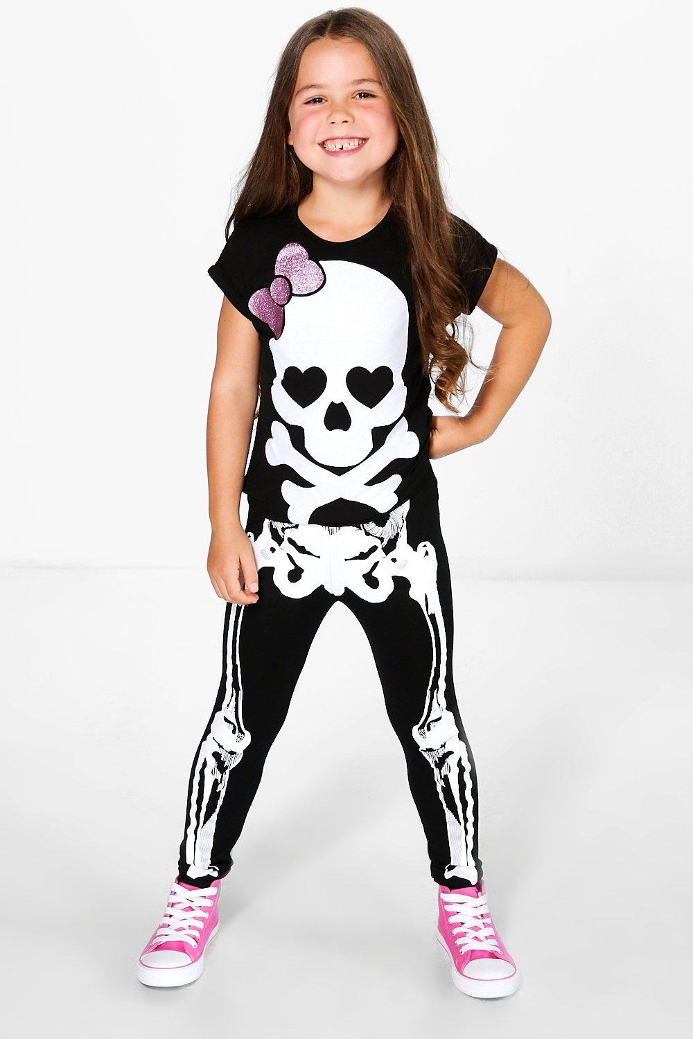 Girls Skeleton Print Leggings